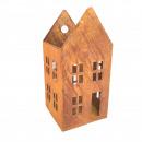 Maison métallique ouverte, H40cm, B19x19cm, rouill